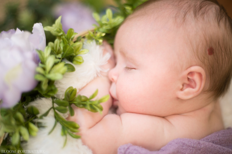 Sleeping Baby with Flowers