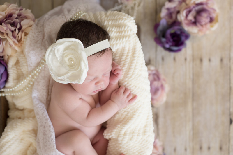 Newborn Baby Girl In Ivory Purple with Pearls