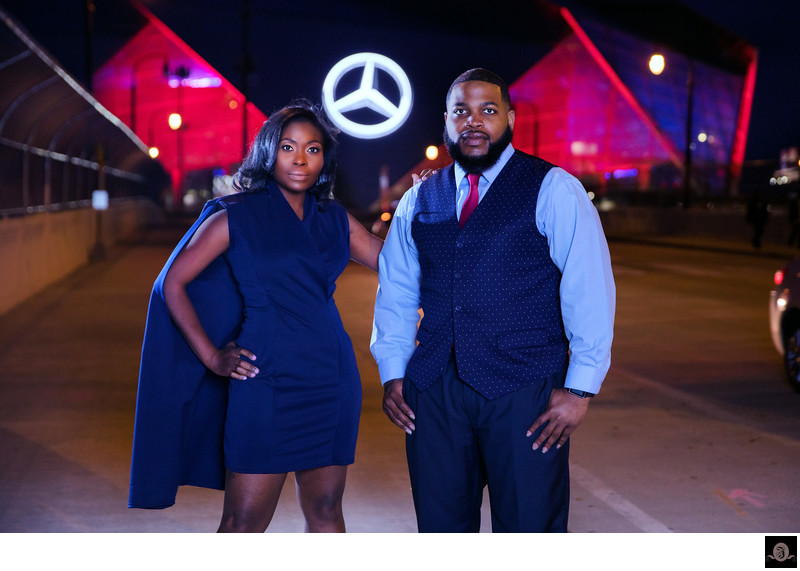 Nighttime Engagement Photography Mercedes Benz Stadium