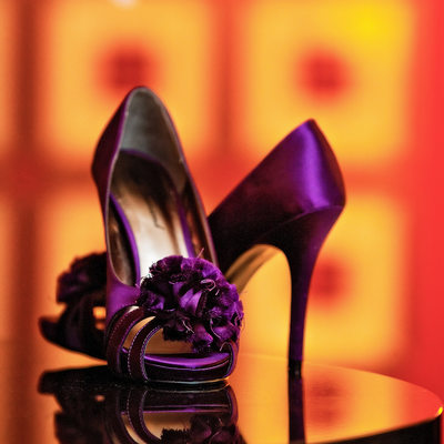 Peep-toe Stiletto Heel Plum Wedding Shoes