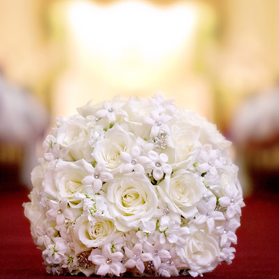 Bridal Bouquet of White Roses and Stephanotis