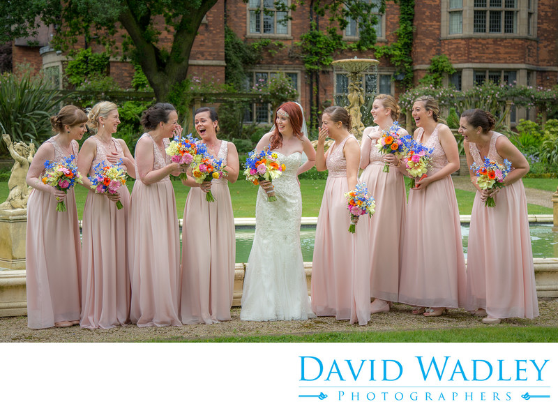 Bride & Bridemaids on the wedding day photographed at Moxhull Hall Hotel.