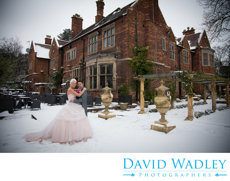 Wedding photography at Moxhull Hall Hotel in snow Sutton Coldfield.