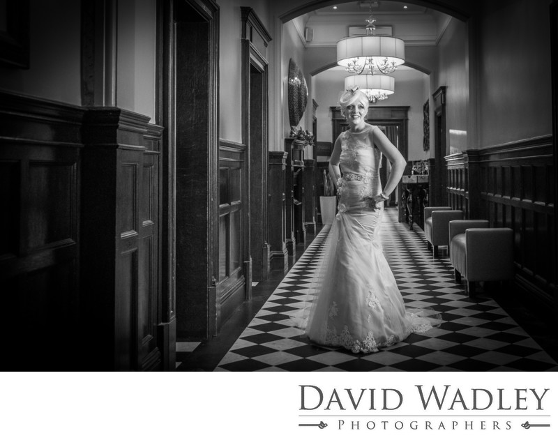 Bride photographed in Black & White Moxhull Hall Hotel.