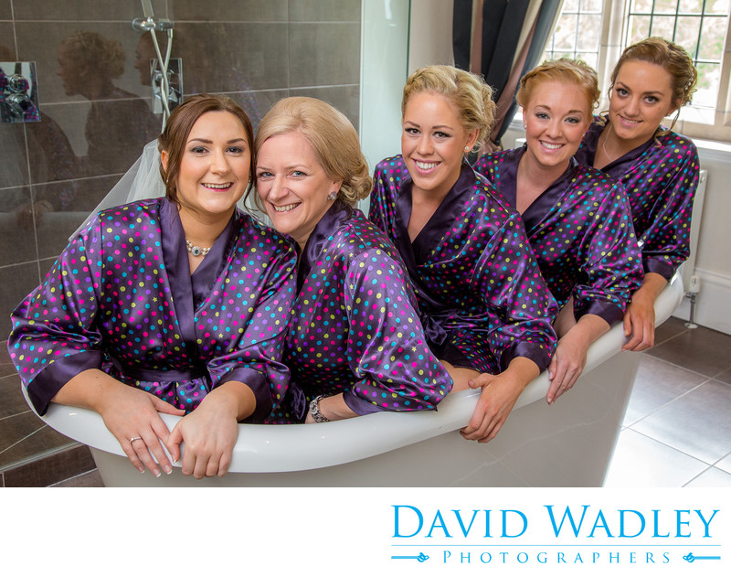 Bride & Bridemaids in bath at Moxhull Hall Hotel.