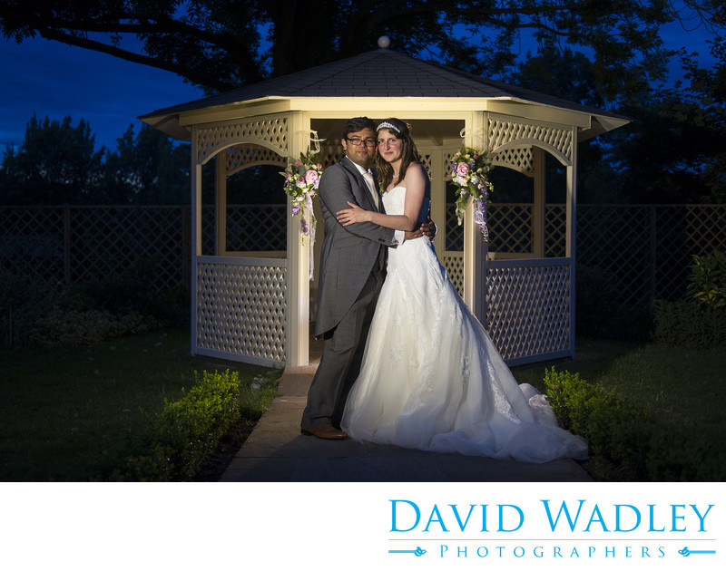 Evening wedding photography at Warwick House Southam.