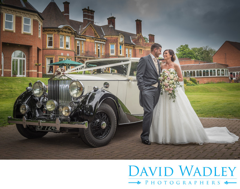 Bride & Groom photograph outside Moor Hall Hotel Sutton Coldfield.