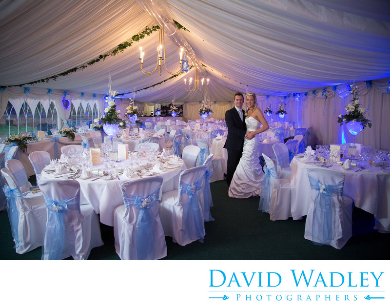 Bride & Groom in marque at Grafton Manor.