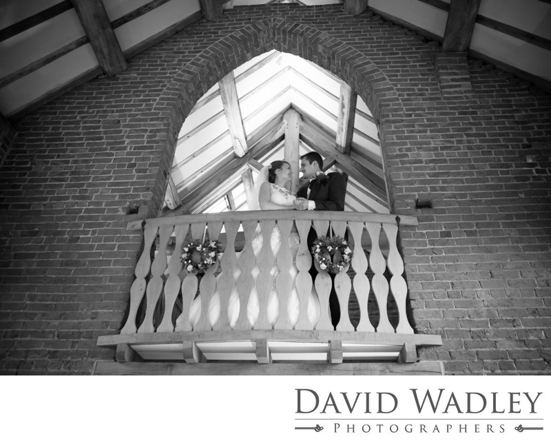 Balcony rustic wedding at Shustoke Barns.