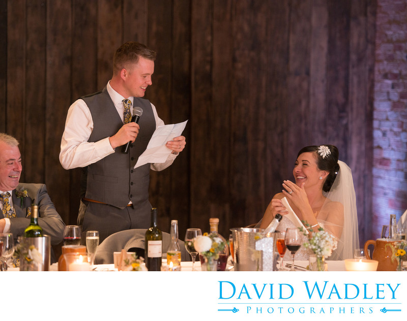 Grooms making wedding speech at Shustoke Barns.