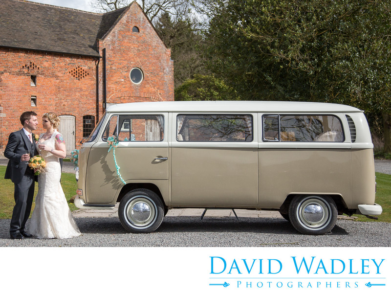 VW Wedding Campervan outside brilliant Shustoke Barns.