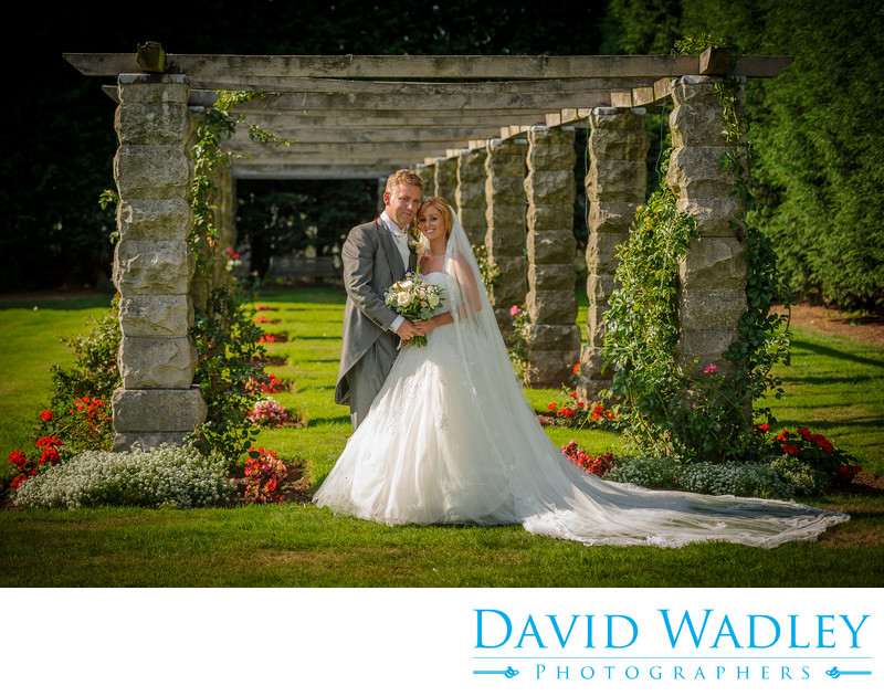 Wedding in the gardens at Swinfen Hall.
