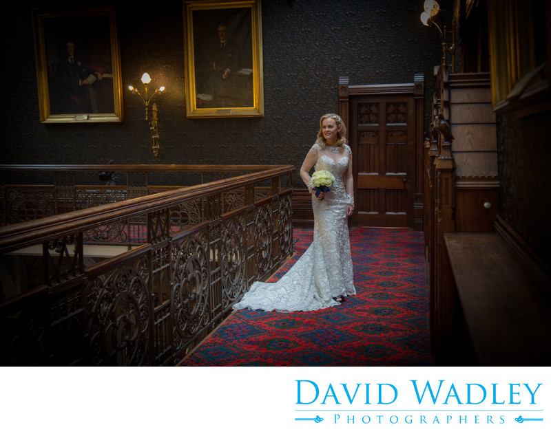 Wedding photograph of bride inside Highbury Hall.
