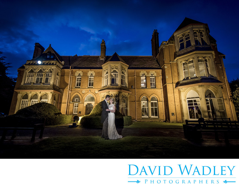 Stunning nighttime wedding photography at Highbury Hall Birmingham.