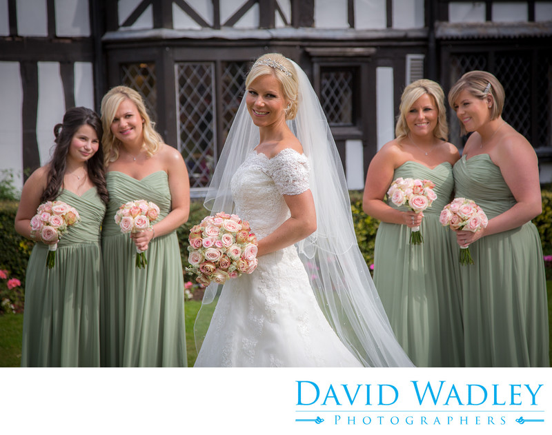Bride together with her Bridesmaids at Nailcote Hall.