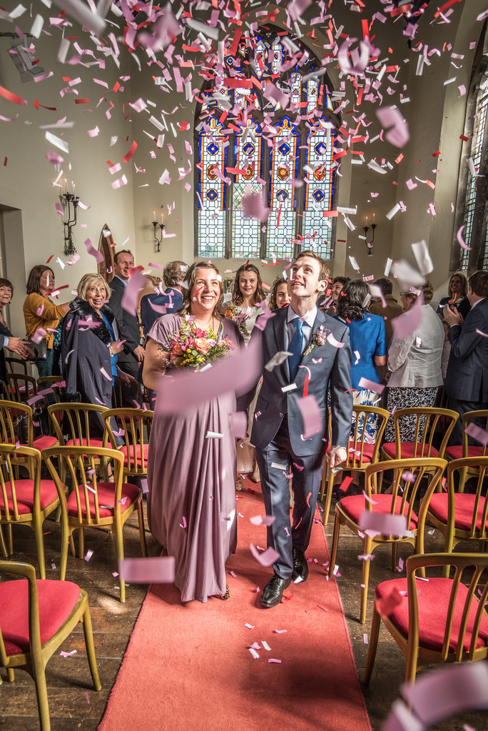 Confetti in the John Morris Hall at Grafton Manor.