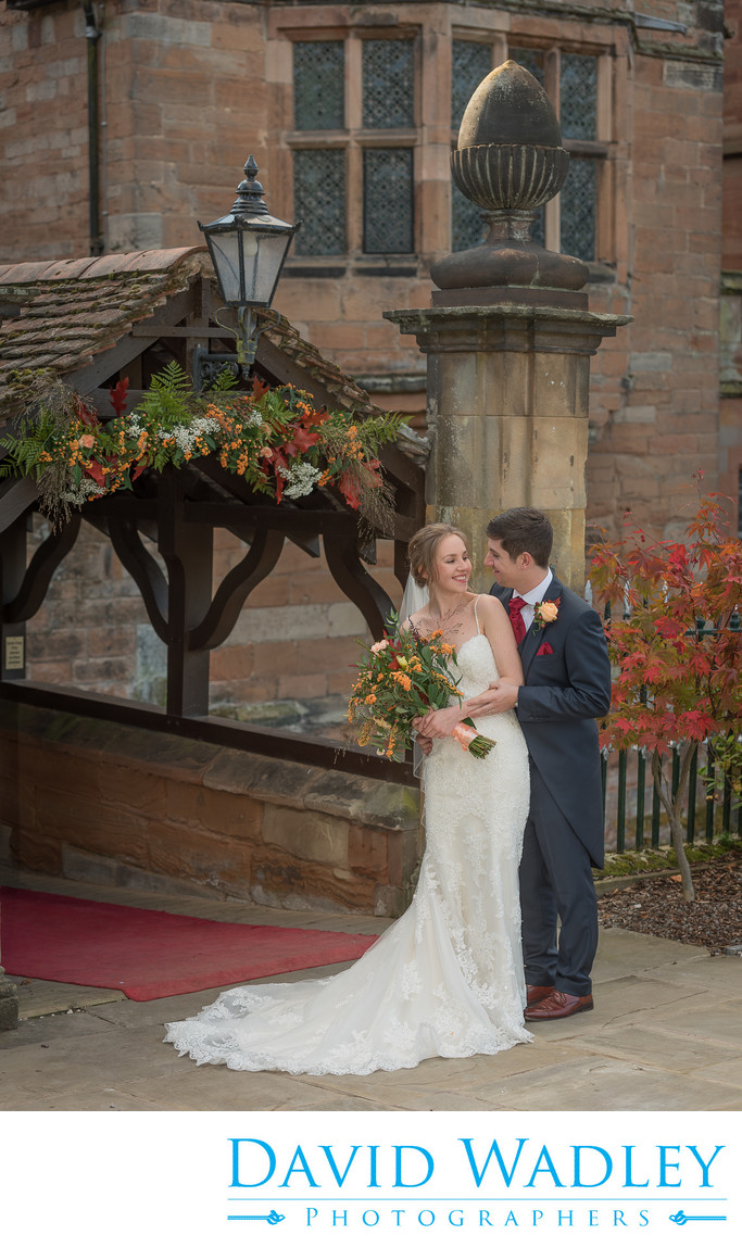 Bride & Groom photographed at front of New Hall Hotel in Sutton Coldfield.