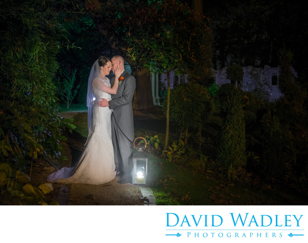 Gardens photographed on the evening of the wedding day at Moxhull Hall Hotel