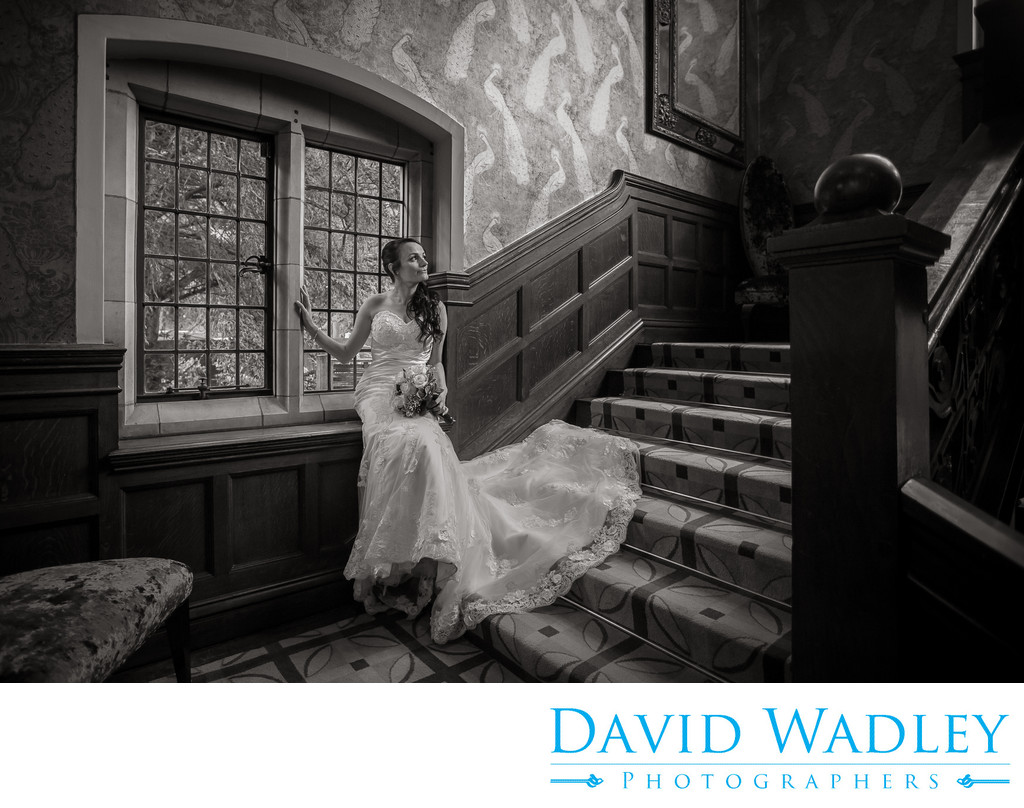 Bride photographed in Moxhull Hall Hotel.