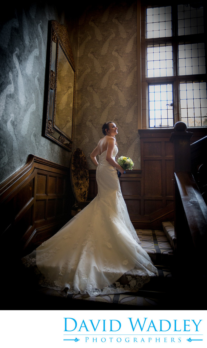 The stunning staircase at Moxhull Hall with the bride on her Wedding Day.