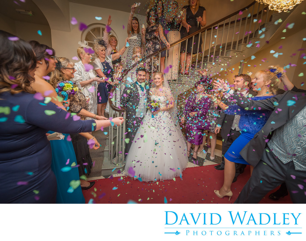 Warwick House Southam Wedding Confetti on the staircase.