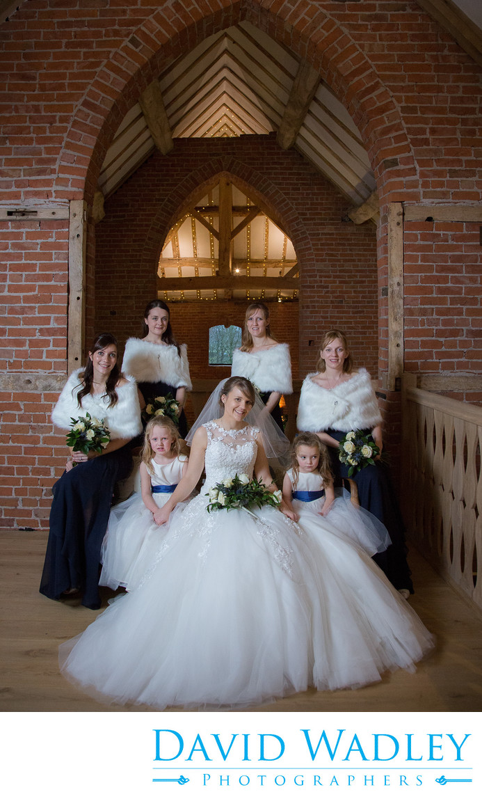 Bride & Bridesmaids at at Shustoke Barns.