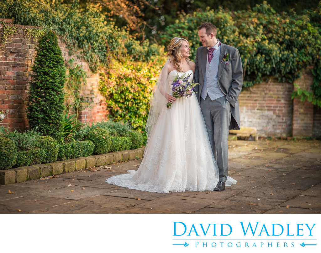 Bride & Groom photographed the courtyard at Shustoke Barns.