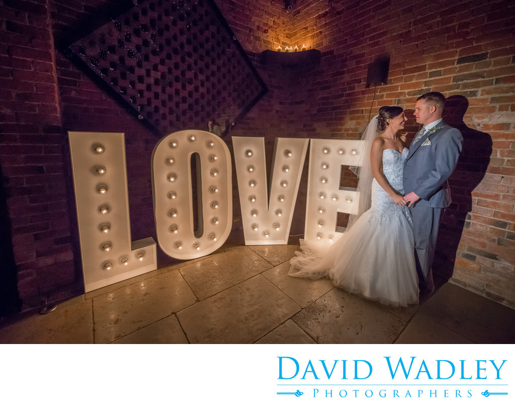 Love on the Wedding day for the happy couple at Shustoke Barns