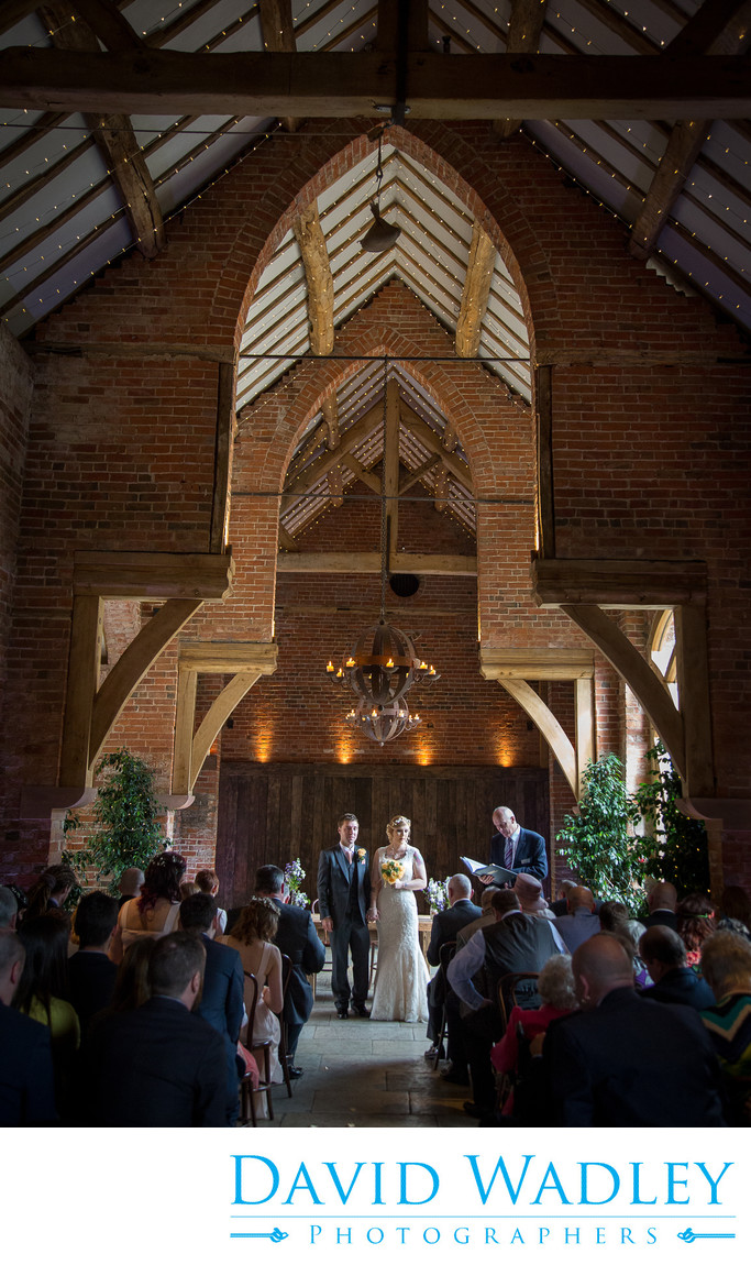 Wedding ceremony in Shustoke Barns