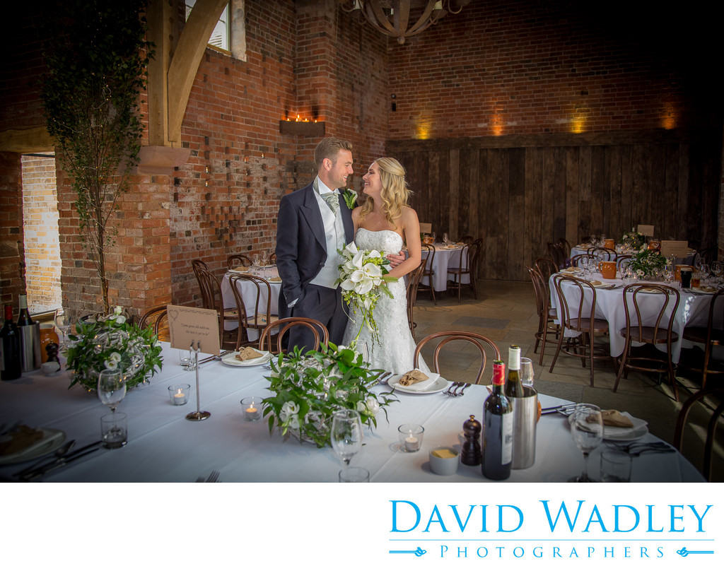 Wedding breakfast with the Bride & Groom at Shustoke Barns.