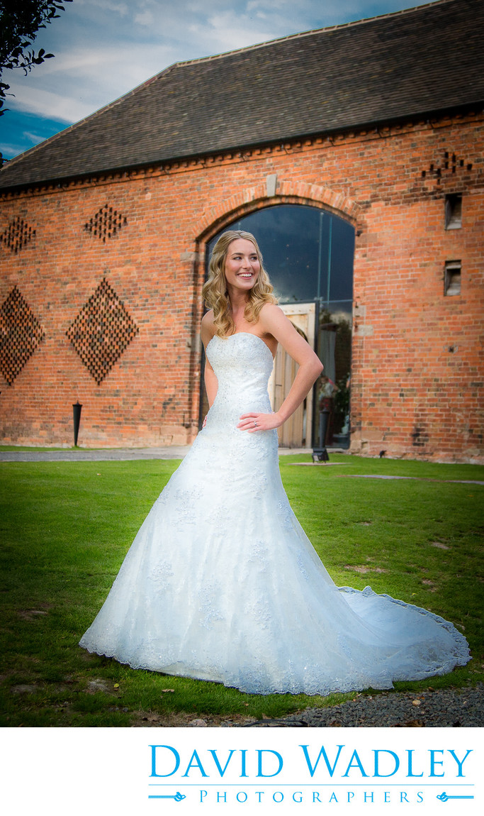 Bride at the front of Shustoke Barns.