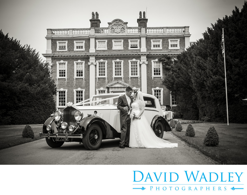 Wedding car on Swinfen Hall driveway.