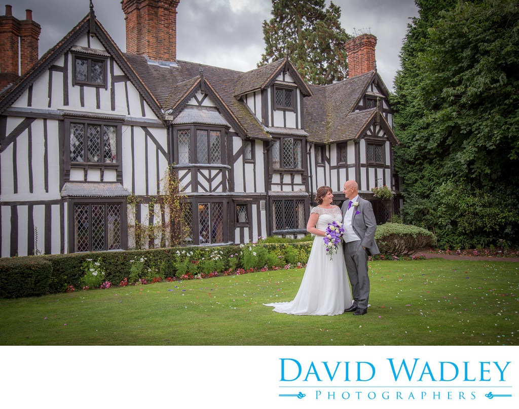 Bride & Groom Outside Nailcote Hall Hotel