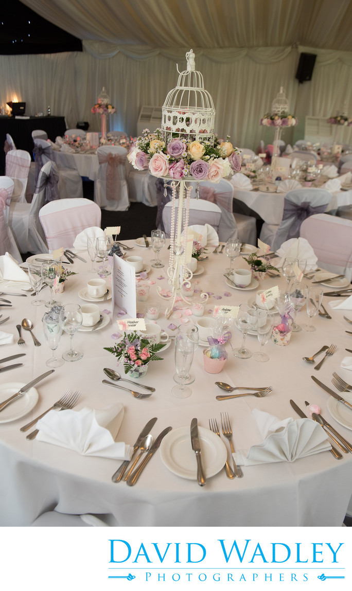 Table decorations at Nailcote Hall Hotel.