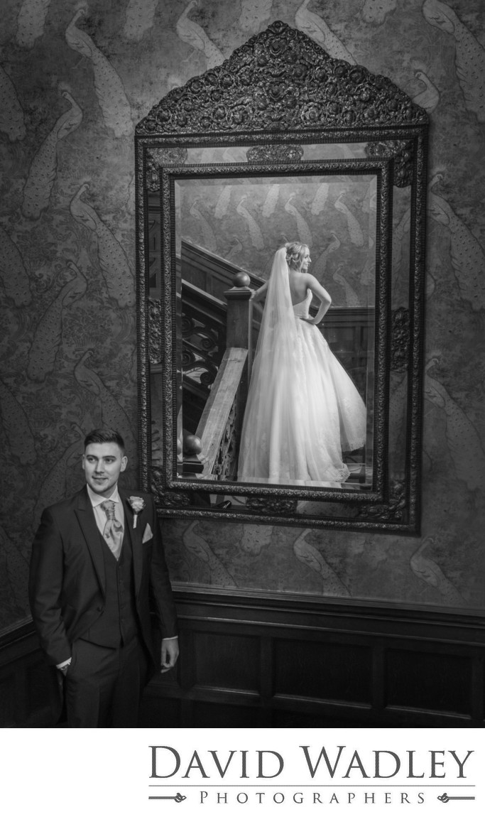 Bride in Mirror at Moxhull Hall on her Wedding day
