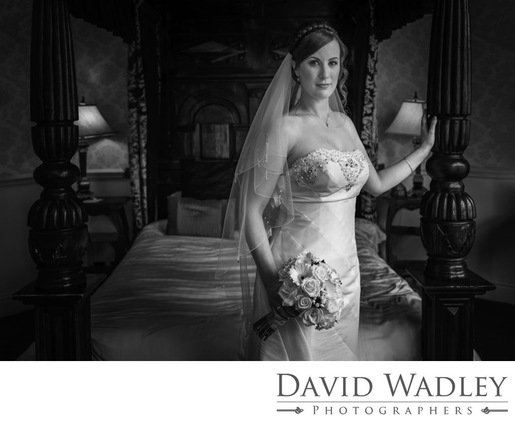 Bride at Coombe Abbey Hotel Black & White