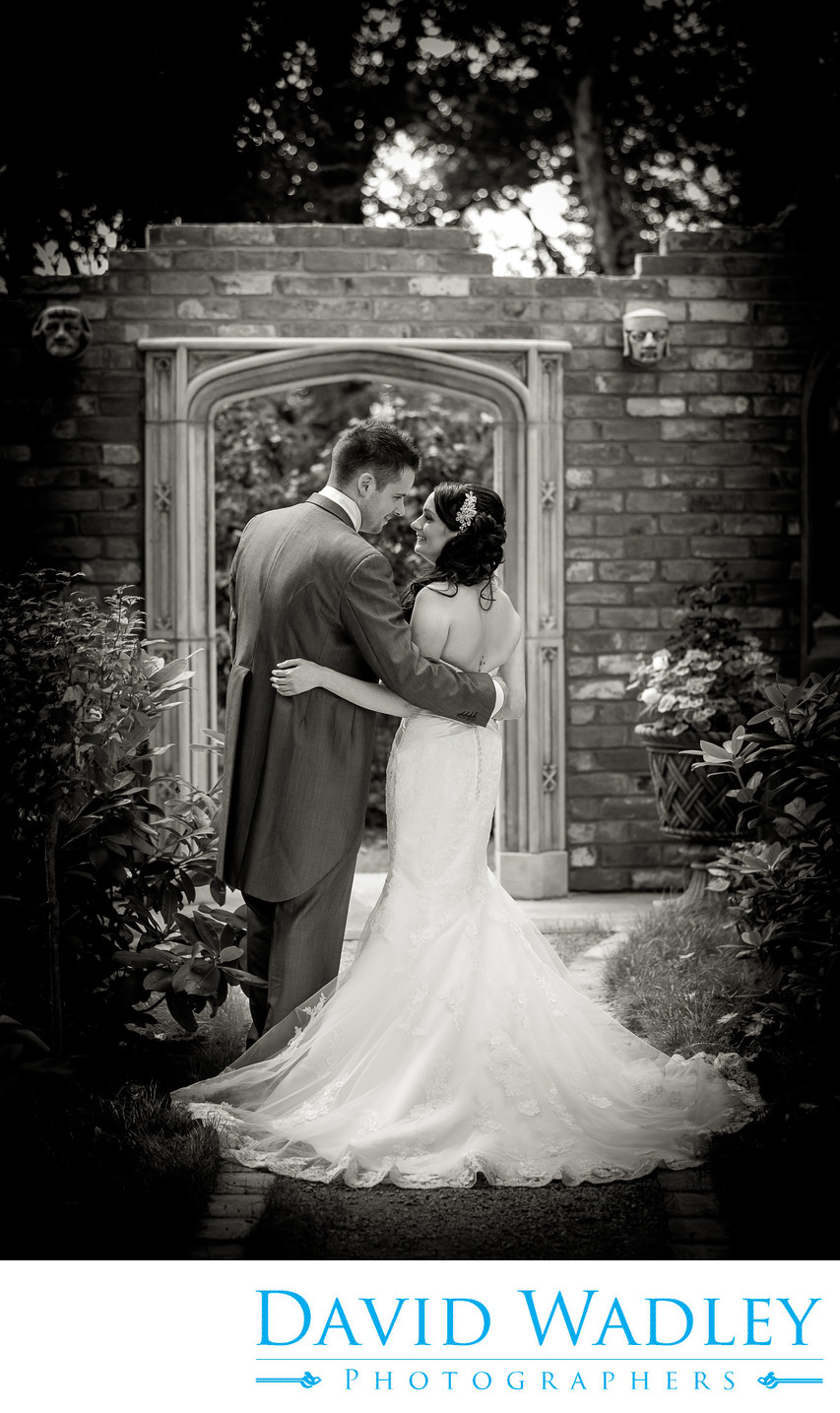 Bride & Groom photographed in the gardens of Moxhull Hall Hotel.