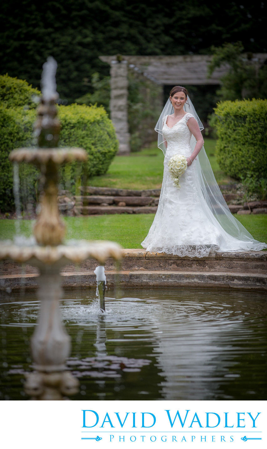 Swinfen Hall Hotel gardens on wedding day.