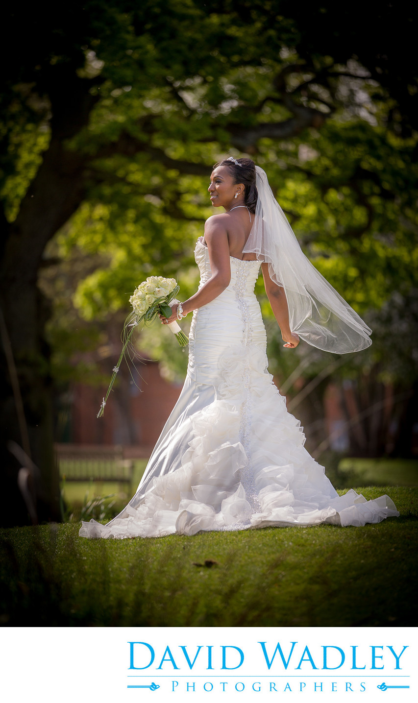 Bride in Sunshine at Nailcote Hall.