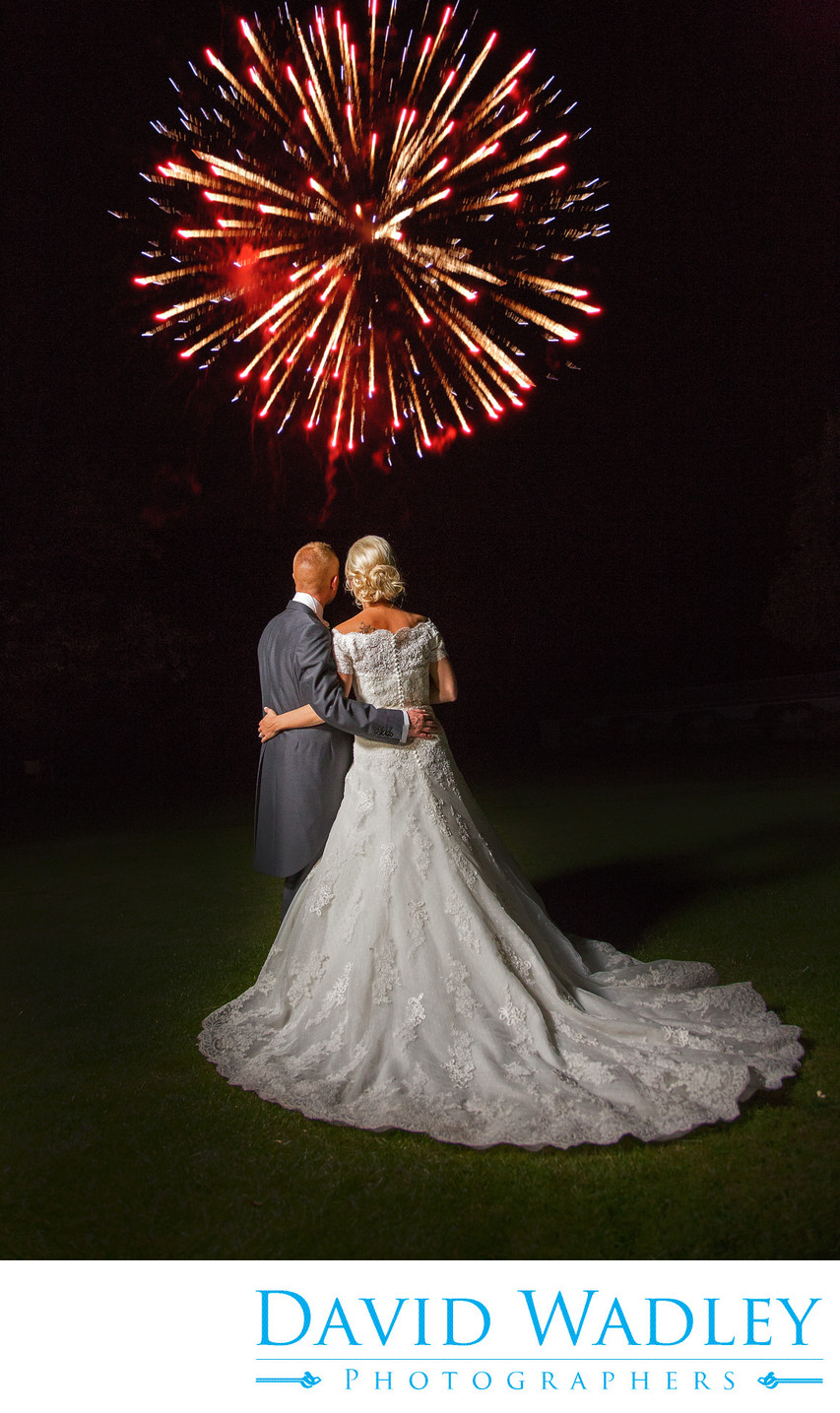 Fireworks on the Wedding day at Nailcotr Hall.