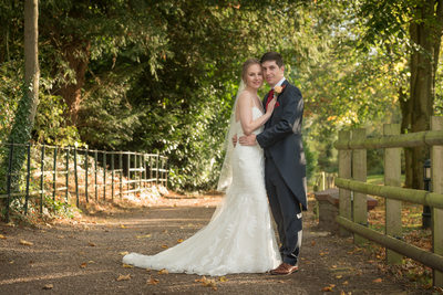 Bride & Groom photographed in the grounds of New Hall Hotel in Sutton Coldfield