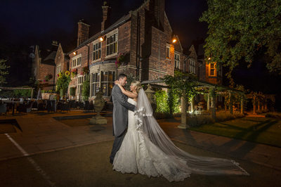 Nightime for wedding photography at Moxhull Hall Hotel