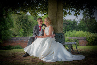 Bride & Groom sitting under tree at Grafton Manor.