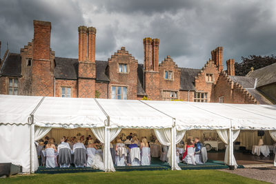 The marquee during the wedding breakfast at Grafton Manor Hotel.