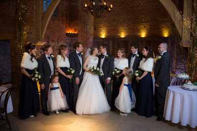 Shustoke Barn Bridal party sharing the wedding celebrations