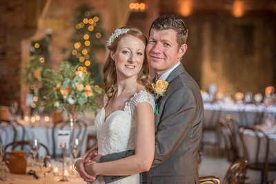 Their wedding day inside stunning Shustoke Barns.