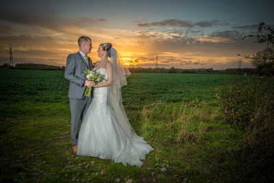 Photographed at Shustoke Barns Wedding Sunset.