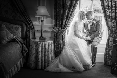 Bride & Groom at beautiful Swinfen Hall Hotel