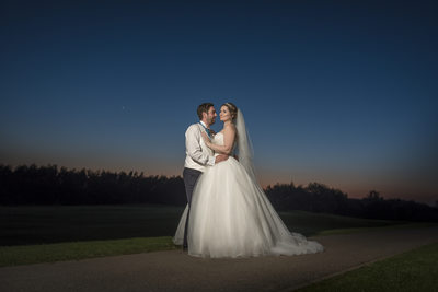 Bride & Groom sunset.  The Forest of Arden Hotel