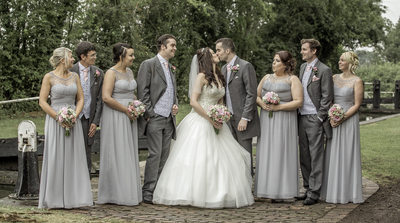 Brook Marston Farm Hotel Bridal Party next to Canal